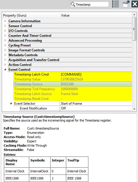 CVB with GenICam > SDK > Retrieving time stamps > Camera time stamp